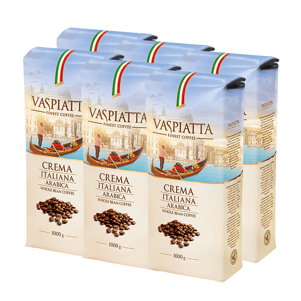Pakiet 6x1kg Kawa Ziarnista Vaspiatta Crema Italiana